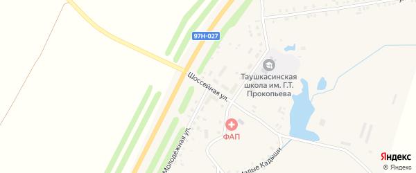Шоссейная улица на карте деревни Таушкас с номерами домов