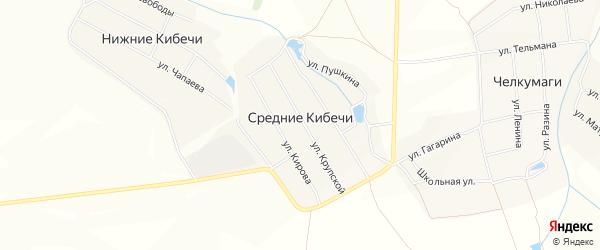 Сад Локомотив-3 на карте деревни Средние Кибечи с номерами домов