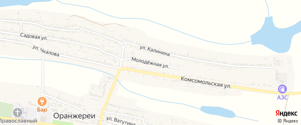 Молодежная улица на карте села Оранжереи с номерами домов
