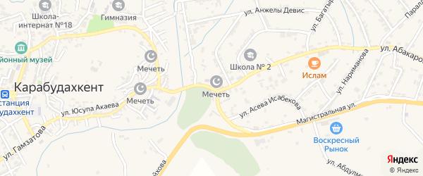 Набережная улица на карте села Карабудахкента с номерами домов