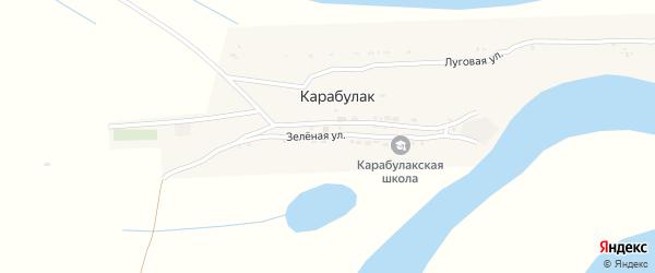 Зеленая улица на карте поселка Карабулака с номерами домов