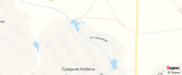 Улица Пушкина на карте деревни Средние Кибечи с номерами домов