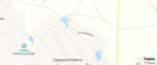 Улица Пушкина на карте деревни Нижние Кибечи с номерами домов
