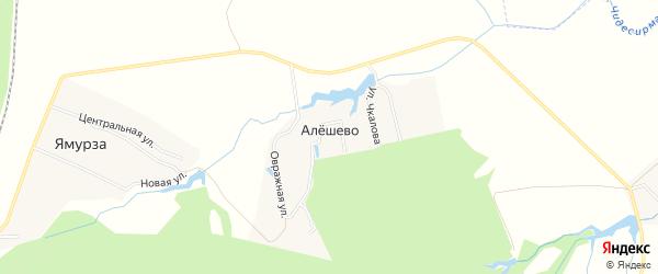 Карта деревни Алешево в Чувашии с улицами и номерами домов