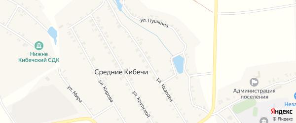 Улица Чкалова на карте деревни Средние Кибечи с номерами домов