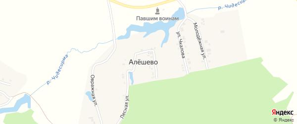 Овражная улица на карте деревни Алешево с номерами домов
