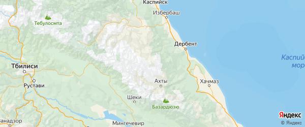 Карта Агульского района республики Дагестан с городами и населенными пунктами