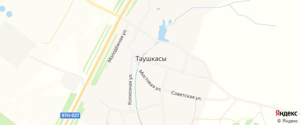 Карта деревни Таушкас в Чувашии с улицами и номерами домов
