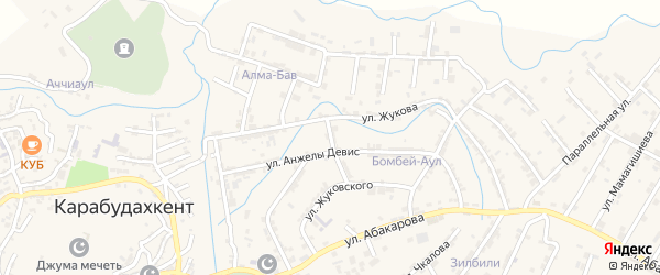 Улица Гаруна Саидова на карте села Карабудахкента с номерами домов