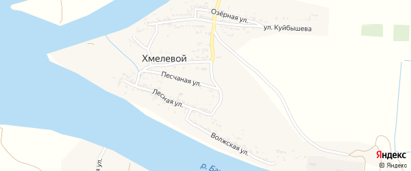 Песчаная улица на карте Хмелевого поселка с номерами домов