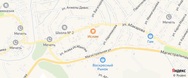 Улица Чкалова на карте села Карабудахкента с номерами домов