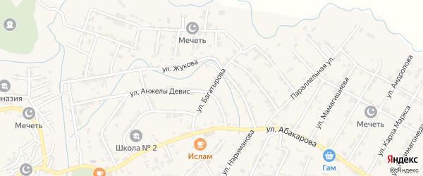 Улица Багатырова на карте села Карабудахкента с номерами домов