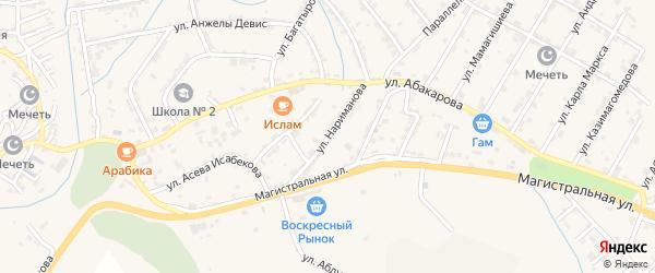 Улица Нариманова на карте села Карабудахкента с номерами домов