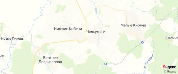 Карта Среднекибечского сельского поселения республики Чувашия с районами, улицами и номерами домов