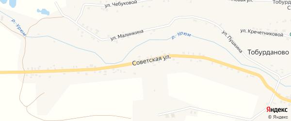 Советская улица на карте села Тобурданово с номерами домов