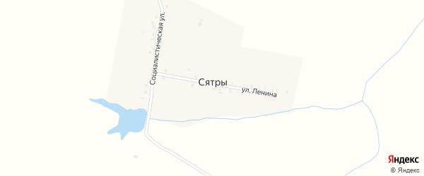Социалистическая улица на карте деревни Сятр с номерами домов