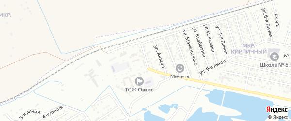 Индустриальная улица на карте Кирпичного поселка с номерами домов