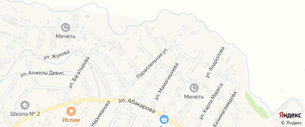 Параллельная улица на карте села Карабудахкента с номерами домов
