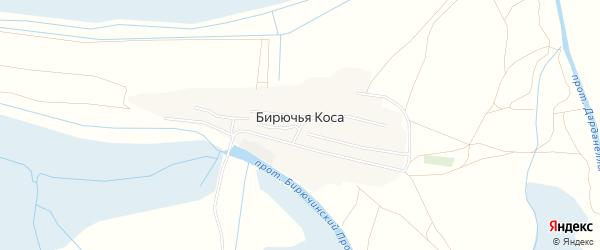Карта села Бирючьей Коса в Астраханской области с улицами и номерами домов