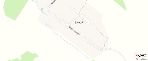 Солнечная улица на карте деревни Елюя с номерами домов