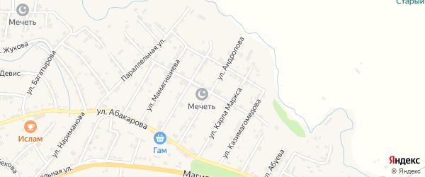 Улица Андропова на карте села Карабудахкента с номерами домов