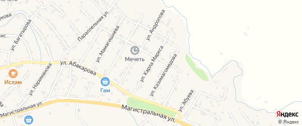 Улица К.Маркса на карте села Карабудахкента с номерами домов