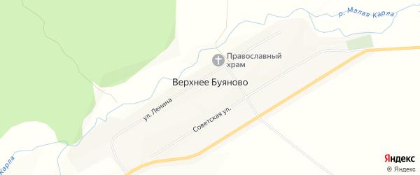 Карта деревни Верхнее Буяново в Чувашии с улицами и номерами домов