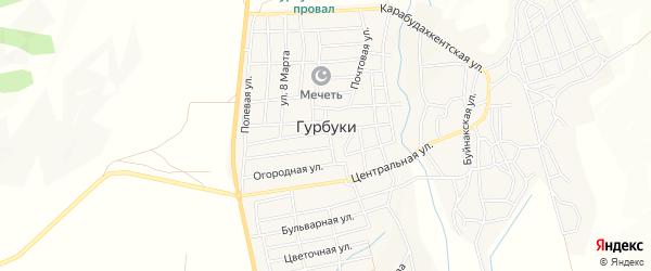 Микрорайон 842 км. ФАД Кавказ на карте села Гурбуки с номерами домов