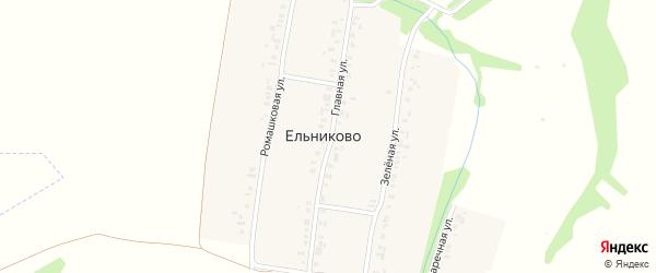 Главная улица на карте деревни Ельниково с номерами домов