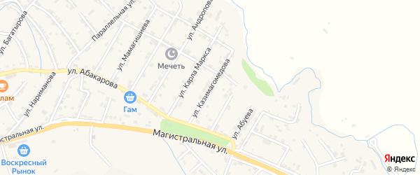 Улица Казимагомедова на карте села Карабудахкента с номерами домов