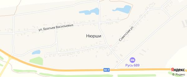 Молодежная улица на карте деревни Нюрши с номерами домов