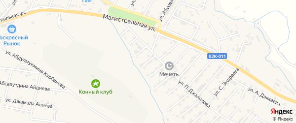 Абонентский ящик Абсалутдина Абушева на карте микрорайона Сергендираул с номерами домов