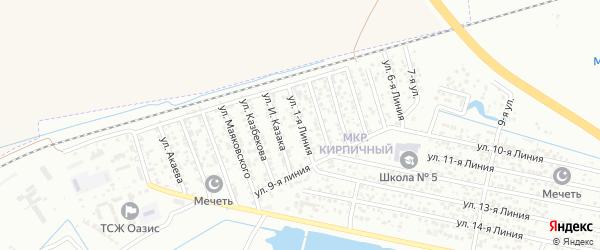 1-я линия на карте Кирпичного микрорайона с номерами домов