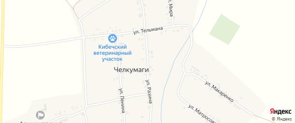 Улица Разина на карте деревни Челкумаги с номерами домов
