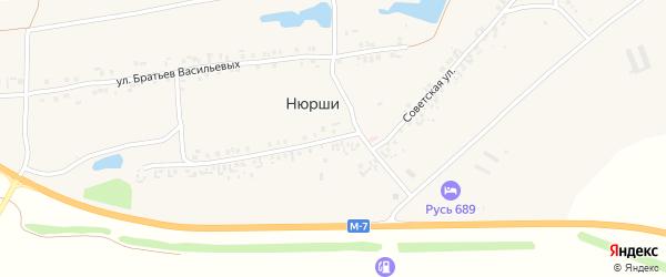Советская улица на карте деревни Нюрши с номерами домов