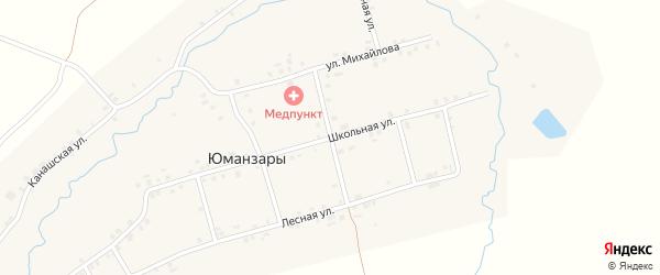 Лесная улица на карте деревни Юманзаров с номерами домов
