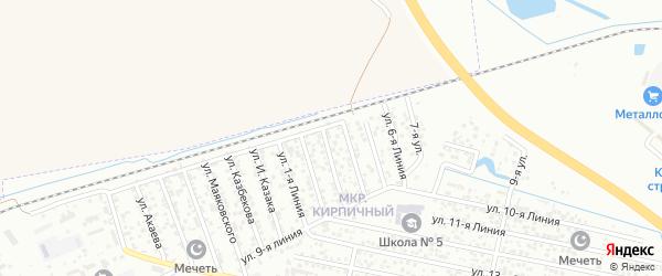 Улица Линия 1 на карте Кирпичного микрорайона с номерами домов