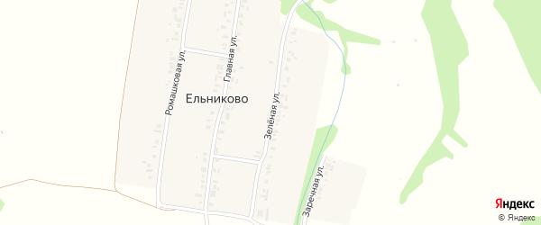 Зеленая улица на карте деревни Ельниково с номерами домов