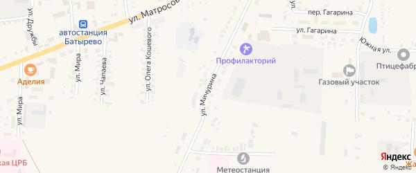 Улица Мичурина на карте села Батырево с номерами домов