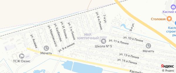 Территория Кирпичный з-д на карте Каспийска с номерами домов