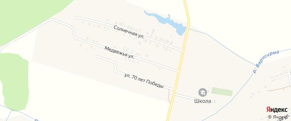 Медвежья улица на карте деревни Хучели с номерами домов