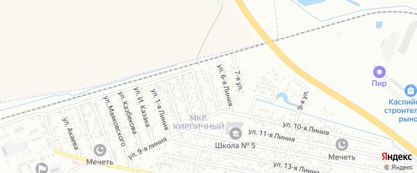 Улица Линия 6 на карте микрорайона Камнеобрабат-щий з-д и Очистные сооруж-я с номерами домов
