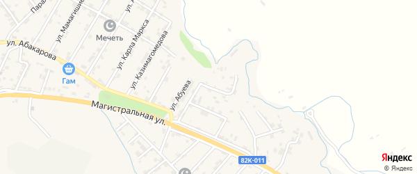 Улица Мадины Ахунжановой на карте села Карабудахкента с номерами домов