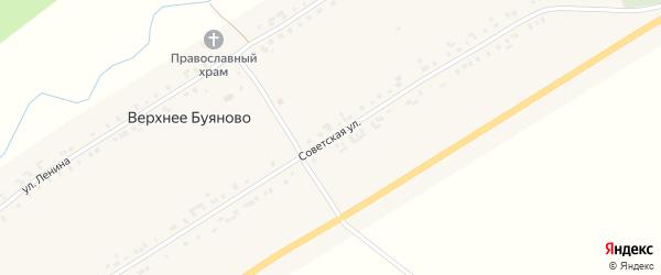 Советская улица на карте деревни Верхнее Буяново с номерами домов