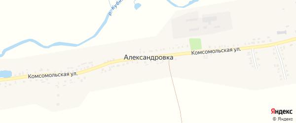 Солнечная улица на карте деревни Александровки с номерами домов