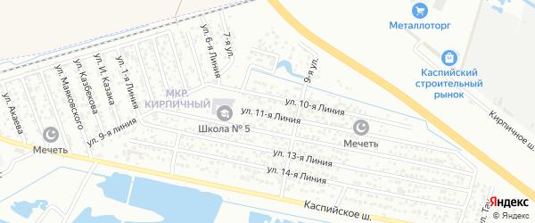 Улица Линия 10 на карте Кирпичного микрорайона с номерами домов