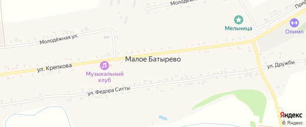 Молодежная улица на карте деревни Малое Батырево с номерами домов