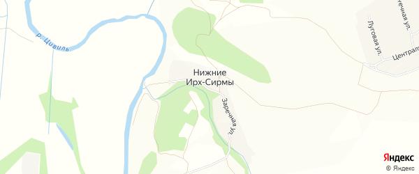 Карта деревни Нижние Ирх-Сирмы в Чувашии с улицами и номерами домов