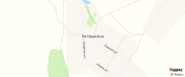 Новая улица на карте деревни Акташкас с номерами домов