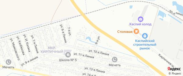 Улица Линия 8 на карте Кирпичного поселка с номерами домов